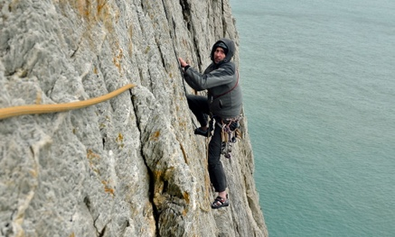 Sea cliff rock climbing at Gogarth in North Wales
